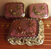 Unusual 1960's Cufflinks and Brooch Set - Ariadne Spider Legend